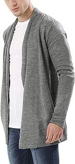 Men's Shawl Collar Cardigan Open Front Longline Jacket Thick Cotton Sweater Drape Cape Overcoat