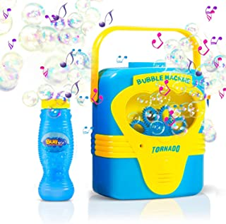 Bubble Machine with Music, Automatic Bubble Maker Portable Soap Bubble Blower for Kids 1 2 3 4 5 and more with Bubbles Solution Refill, Battery Operated