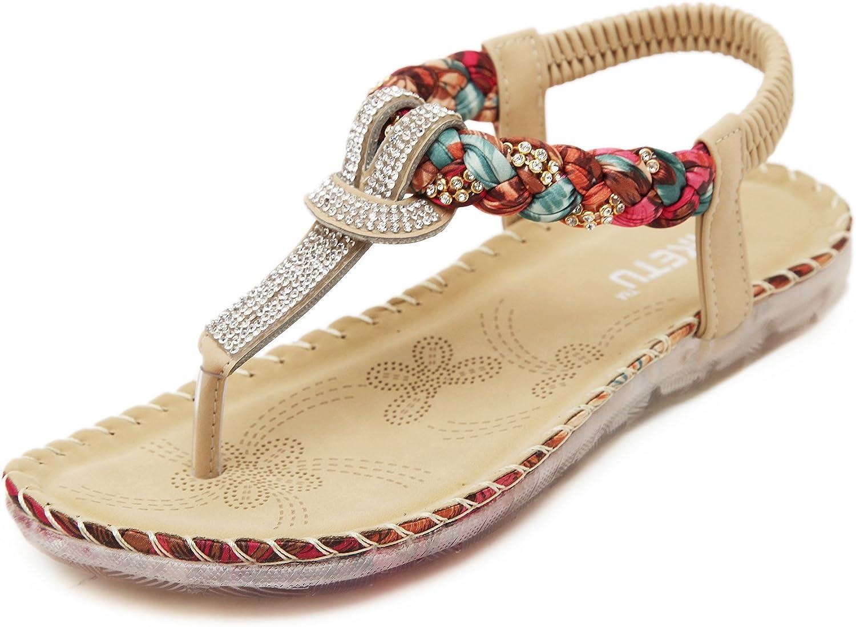 Meeshine Women's Summer Thong Flat Sandals T-Strap Bohemian Rhinestone Slip On Flip Flops shoes