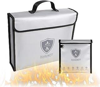 Large Bag Fireproof Waterproof Document Bag,Valuables Protection Bag Plus Small Bag Fireproof Faraday Bag, RFID Signal Blo...