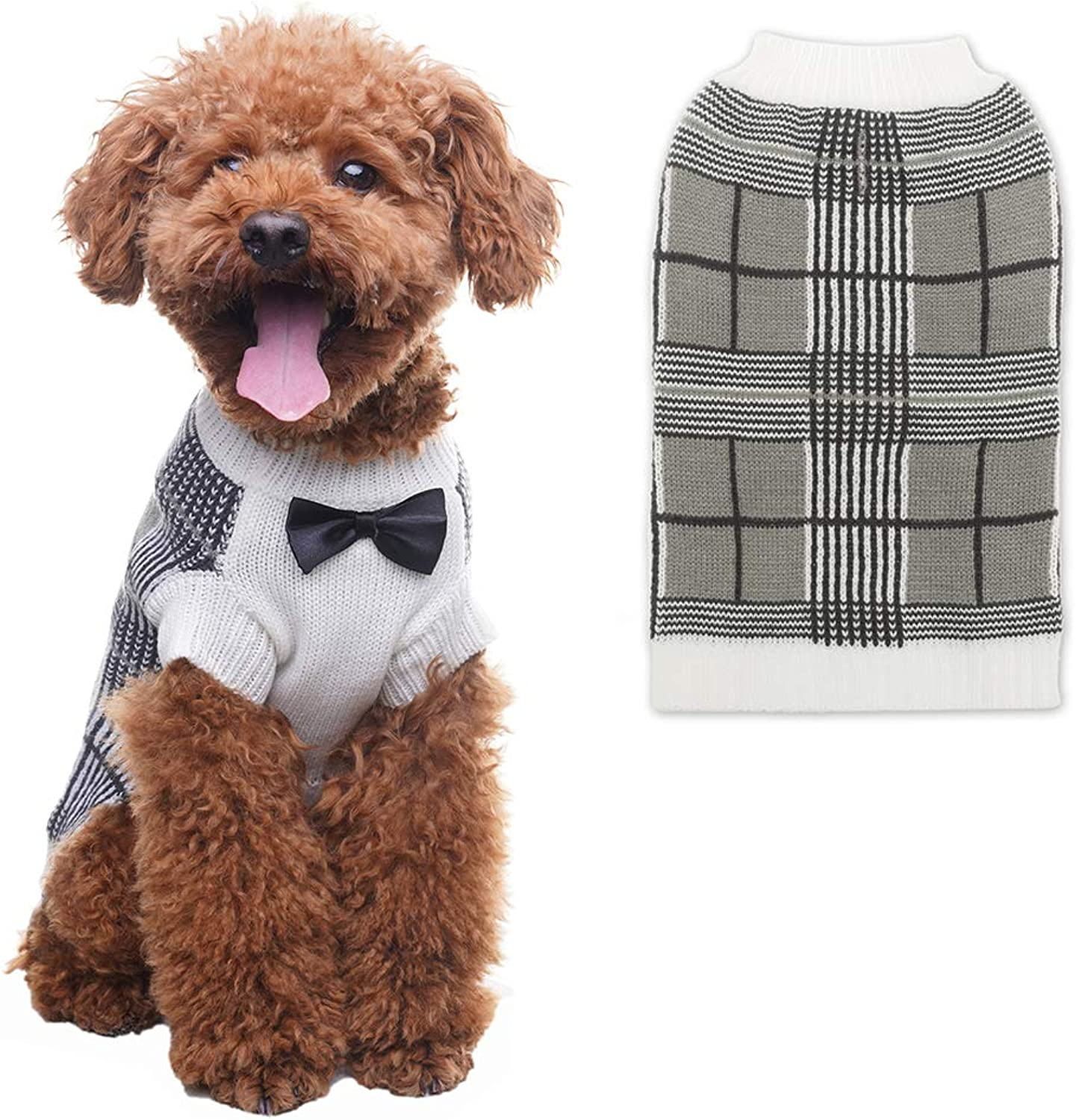 OFPUPPY Dog Sweater with Bow Tie Gentleman Style Pet Decent Winter Clothes for Both Girl and Boy Puppies