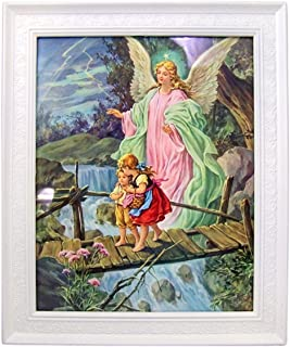 Gerffert Children with Guardian Angel Print in 11 1/2 Inch Frame