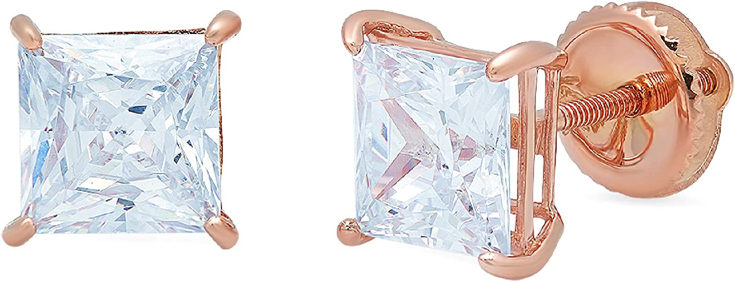 Clara Pucci 4.0 ct Brilliant Princess Cut Solitaire VVS1 Flawless Natural Sky Blue Topaz Gemstone Pair of Stud Earrings Solid 18K Rose Gold Screw Back