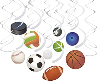15 Swirls & 15 Empty Cutouts - Ball Party Decorations, Sports-Themed Party Streamers, Football, Basketball, Baseball-Style Hanging Decor, 10 Assorted Designs - Hanging Length: 34.25 to 36.25 Inches