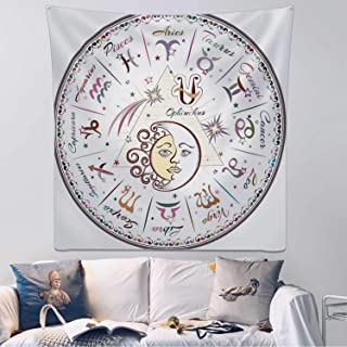 Hitecera Zodiac Decor Tapestry Wall Hanging,Western Chart with All Signs Aries Virgo Leo Taurus Libra Mystique Fate Calendar Wall Art for Bedroom,59.1x59.1inch