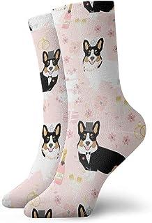 Calcetines para hombre – Calcetines de algodón para hombre – Corgi Tri diseño de boda Crew Socks