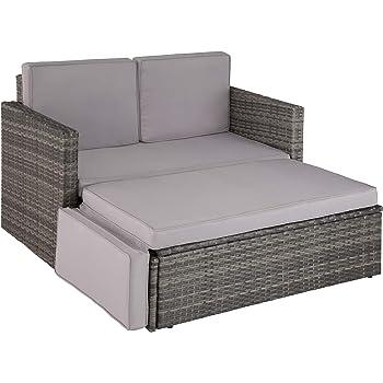 TecTake 800693 Poly Rattan Lounge Set, 2 Sitzer Sofa mit Hocker, Ottomane, inkl. Dicke Auflagen – Diverse Farben (Grau   Nr. 403125)