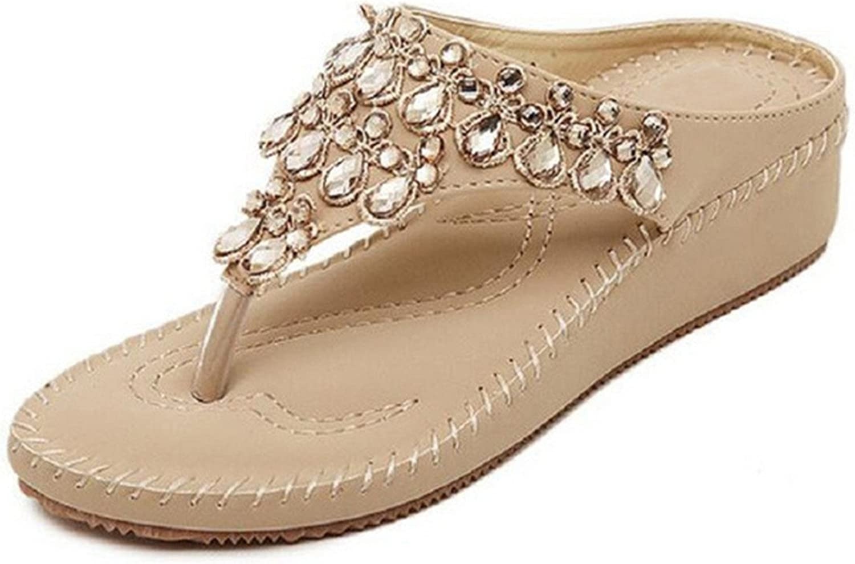 NeeKer shoes Summer Women Sandals High Heels Flip Flops Beach Wedge Sandals Rhinestones Platform Wedge Flip Flops C063