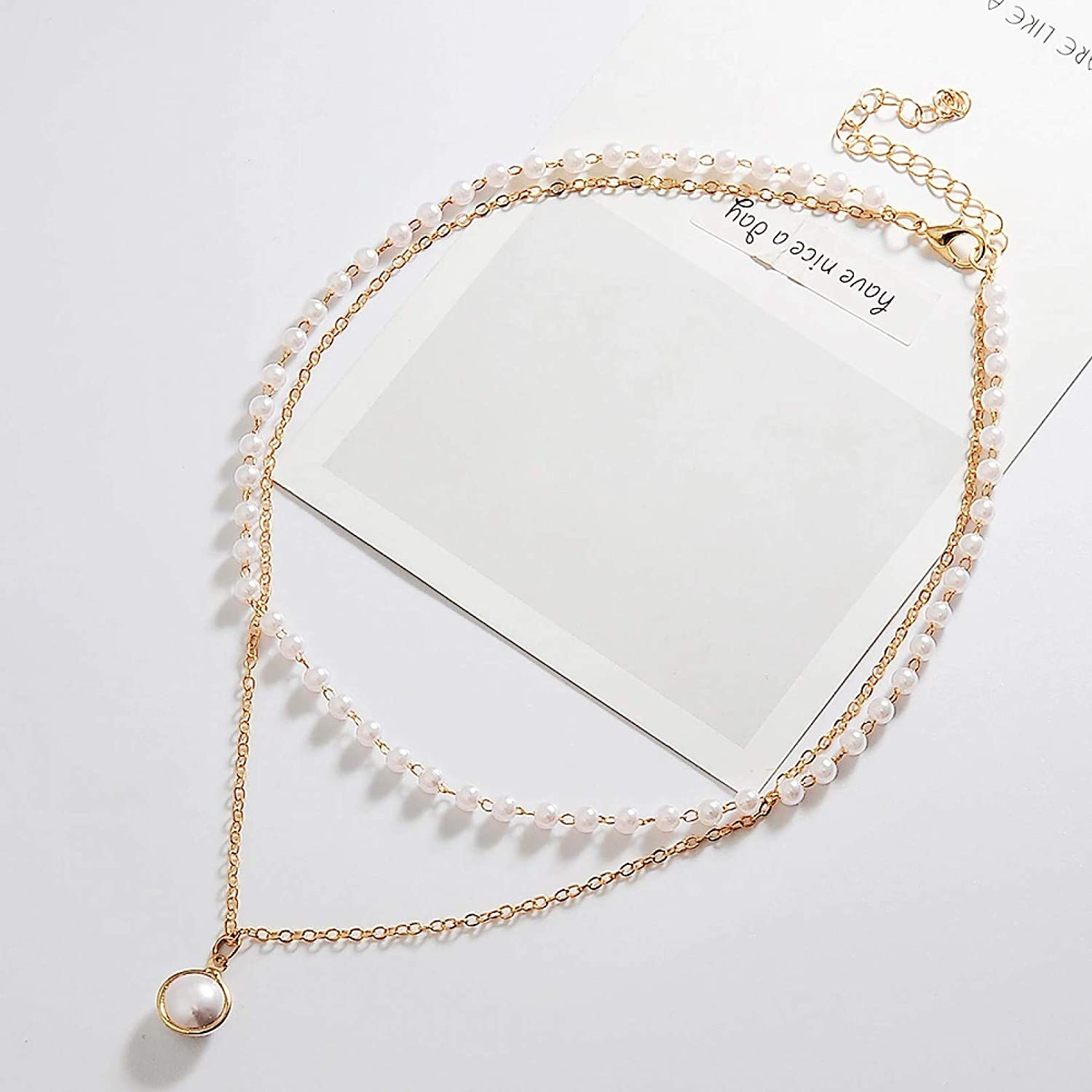 N/A Necklace Pendant Double Layer Chain Fashion Choker Cute Romantic Women Necklace Gold Color Short Chain Pendant Collar Necklace Jewelry Halloween Christmas Birthday Party Gift