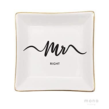 mono living Mr Right Wedding Gifts Trinket Dish Ring Tray Engagement Gift for Him Her Engaged Gifts Ring Dish Holder fiancé Bride Ring Holder Gold Ceramic Trinket Tray Wedding Accessories