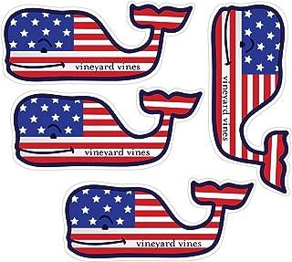 Vineyard Vines American Whale Flag Stickers, Vinyl Decal - UV Protected & Waterproof, 2