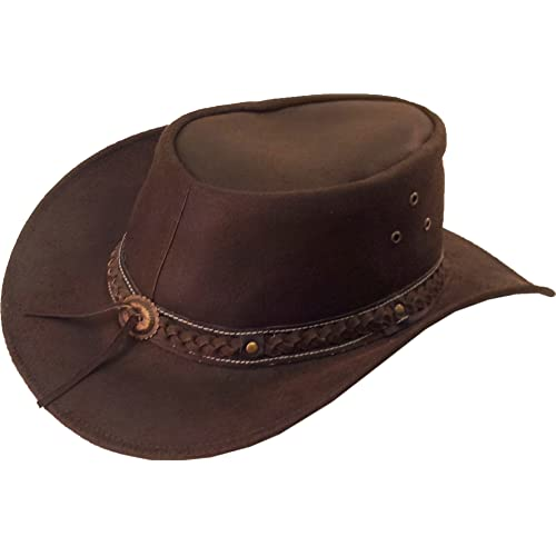 Real Leather Australian Cowboy Hat Aussie brown Sun hat  8H 2e44a8ea5987