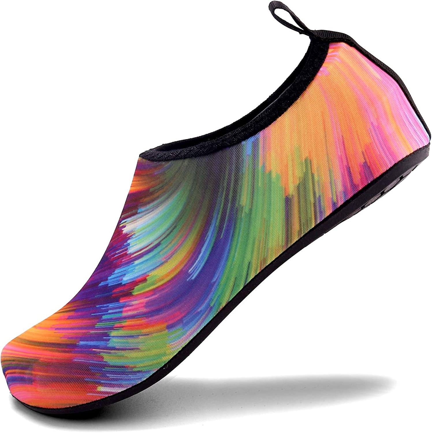 Aslipper Womens and Mens Summer Outdoor Water shoes Aqua Socks for Beach Swim Surf Yoga Exercise (XS(W 3.5-4), colorful)