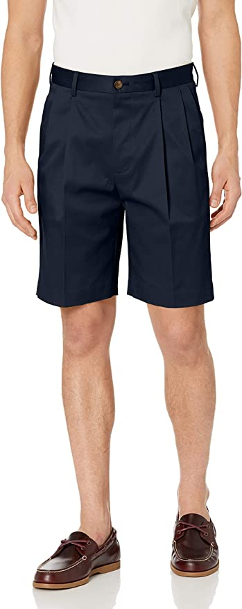 Vintage Style Mens Shorts Amazon Brand - Buttoned Down Mens Relaxed Fit Pleated 9 Inseam Chino Short Supima Cotton Non-Iron $39.00 AT vintagedancer.com