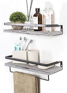 Best Soduku Floating Shelves Wall Mounted Storage Shelves for Kitchen, Bathroom,Set of 2 Grey Review