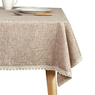 Glory Season Linen Rustic Burlap Washable Tablecloth,Solid Heavy Weight Tan 55 x 70 Rectangle Overlay Lace Edge Table Cover for Kitchen Dinning Decoration