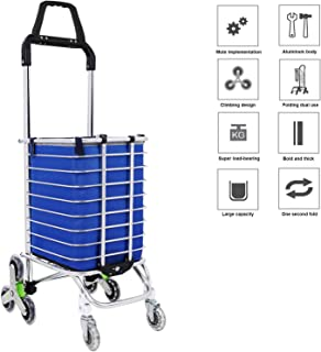 Utility Folding Shopping Cart with Rolling Swivel Wheels Waterproof Stainless Steel for Stair Climbing Grocery Laundry (Green2)