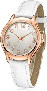 Women's Wrist Watch Stylish Simple Rose Gold Casual Analog Watches with Genuine White Leather Band