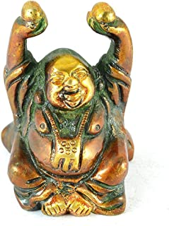 Purpledip Vintage Laughing Buddha Statue in Solid Brass Metal: Harbinger of Wisdom and Wealth - Use as Home Decor Showpiece for Feng-Shui, Golden Finish (10325)