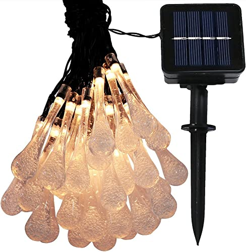 lowest Sunnydaze online 20-Foot Outdoor online Hanging Solar String Lights LED 30-Count, Water Drop Patio Lights, Warm White sale