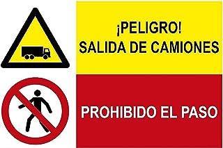MovilCom® - Señal combinada ¡PELIGRO! SALIDA DE CAMIONES/PROHIBIDO EL PASO material PVC 0.7mm 600X400m señal informativa (ref.FRD4300223)