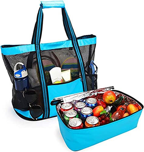 high quality Cooling Beach Bag Mesh Bach Bag with Detachable Tote Cooler Large Mesh Beach Tote Bag with online sale Insulated Picnic Cooler Leak-proof for Beach Pool Outdoor Travel Gym Detachable Pool high quality Bag, SegkopuoL online sale