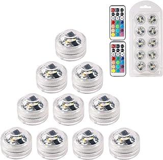 MAVIE 10 pcs Sumergible Luces LED Luces Subacuáticas Impermeable SMD 3528 RGB Humor Luces con Control Remoto IR para Vaso, Tazones, Piscina, Acuario y Decoración de Fiesta