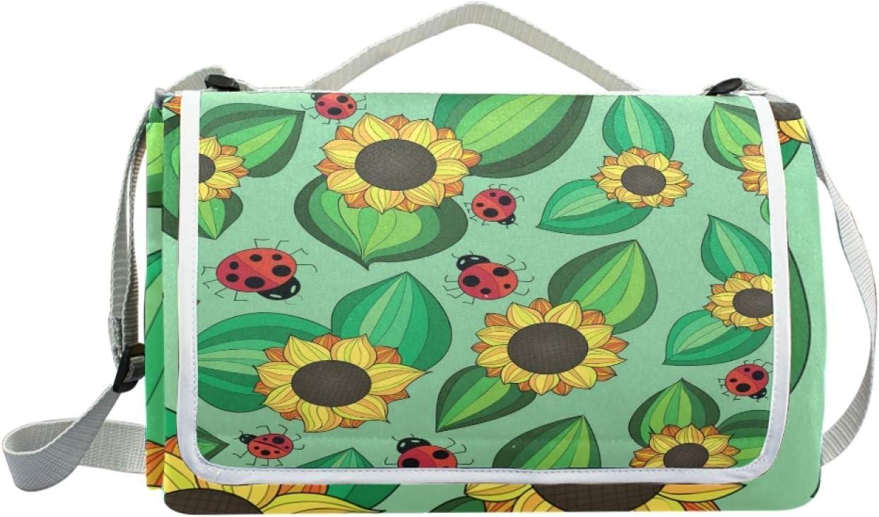 HYFA Sunflower Ladybug Picnic Outdoor Park Superlatite B New mail order Mat Beach Blanket