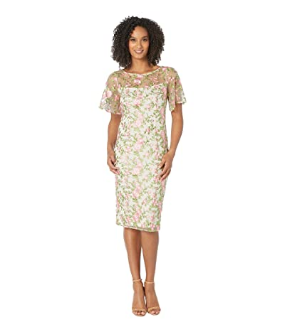 Adrianna Papell Winding Blooms Sheath Dress (Coral Multi) Women