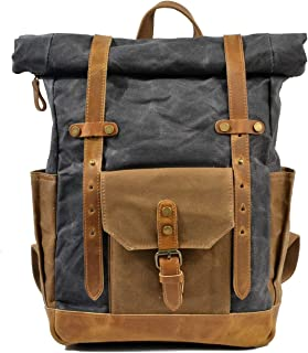 ZHANGBIN ZHANGBIN Wasserdichter Rucksack für Herren, aus Segeltuch, große Kapazität, Retro-Reisetasche, Batik-Tasche, Dunkelgrau