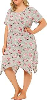 Agnes Orinda Women's Plus Size Floral Nightgown for Women Pajamas Cute Irregular Sleep Dress