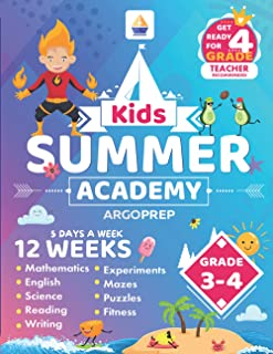 Kids Summer Academy by ArgoPrep - Grades 3-4: 12 Weeks of Math, Reading, Science, Logic, Fitness and Yoga | Online Access ...