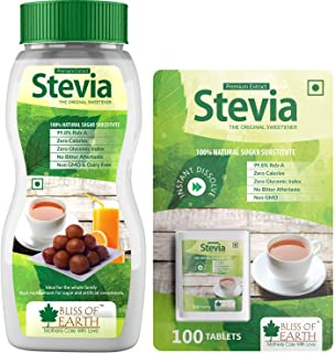 Bliss of Earth Combo of 99.8% REB-A Purity Stevia Powder & Tablets, Natural & Sugar free, Zero Calorie Keto Sweetener, 200...