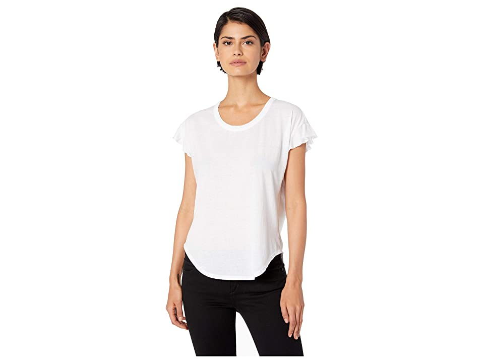 Chaser Vintage Jersey Flutter Sleeve Shirttail Tee (White) Women