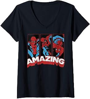 Womens Marvel Spider Man Amazing Comic Poses T-Shirt Femme avec Col en V