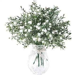 Meiliy 8pcs Babys Breath Artificial Flowers Bulk Real Looking Gypsophila w/Burlap Ribbon for DIY Wedding Bouquets Boutonnieres Corsages Centerpieces Cake Flower Decoration