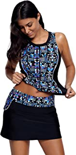 Women's Stylish Print Zipper Front Tankini Top with Skirted Bottom Swimsuit Set(S-XXXL)