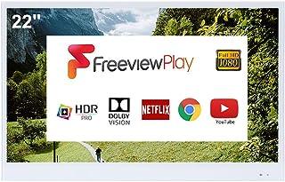 Soulaca 22 Pulgadas Blanco Inteligente TV IP66 TV a Prueba de Agua para baño, Hotel con Control Remoto (último Modelo de 2...