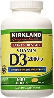 Kirkland Signature Extra Strength Vitamin D3 2000 I.U. 600 Softgels, Bottle (Pack of 2)