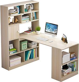Desk Bureau d'angle en Forme de L avec tiroirs de Rangement et bibliothèque, Table d'étude de Bureau d'ordinateur de Poste...