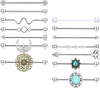 Milacolato 14 piezas 14G Piercing de Acero Inoxidable Industrial Barbell Pendiente para Hombres Mujeres Cartílago Pendient...