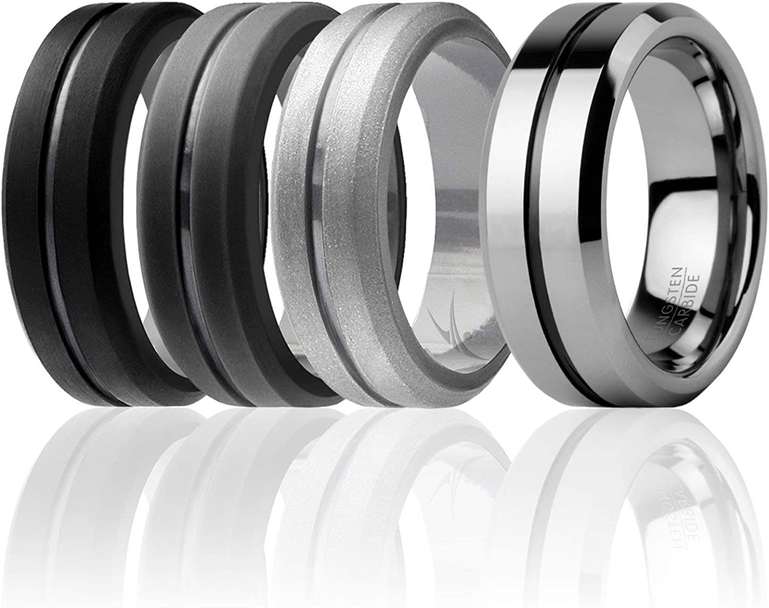 3 Silicone /& 1 Tungsten Carbide Wedding Rings for Men ROQ Engraved Middle Line Style 4 Pack Tungsten Carbide Band for Special Events Mens Silicone Rings for Work//Sport//Hiking