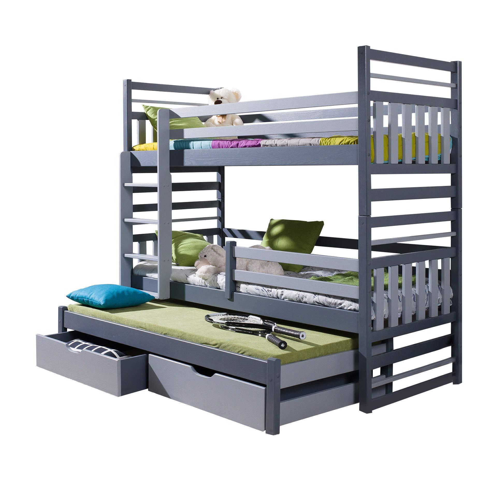 Litera Triple Hippo Moderna Cama Nido Alta con cajones y Escalera de Madera de Pino para 3 niños, Izquierdo, Shorter Size: Amazon.es: Hogar