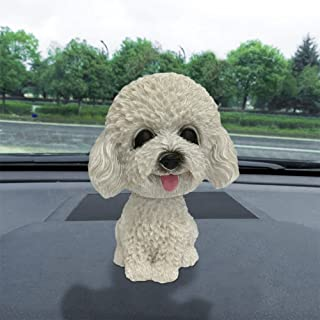 Gessppo Swinging Animal Bobble Dancer Toy Nodding Resin Puppy Dog Car Decor, 8 Colors Available (E)