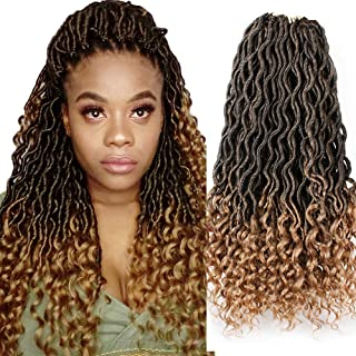 XiuYuan 6 Pcs/Lot Goddess Ombre Faux Locs Crochet Hair With Curly Ends 18 Inch Synthetic Crochet Braids Hair Extensions (T27#)