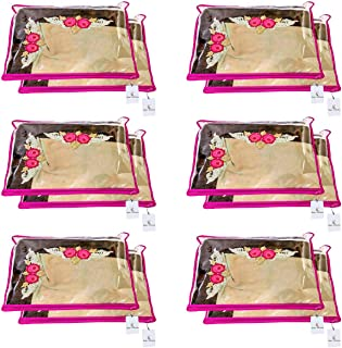 Kuber Industries Non Woven Single Packing Saree Cover 12 pcs Set (Pink),CTKNEW101