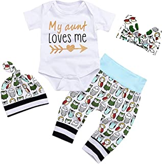 8ffb231feab YOUNGER TREE Newborn Baby Girls Owls Outfit Set 4pcs Unisex Baby Clothes My  Aunt Loves Me