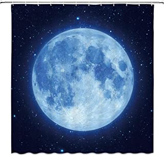 AMFD Amazing Moon Shower Curtain Beautiful Fantasy Starry Sky Glowing Moon Blue Navy Black Bathroom Curtains Decor Polyester Fabric Waterproof 70 x 70 Inches Include Hooks