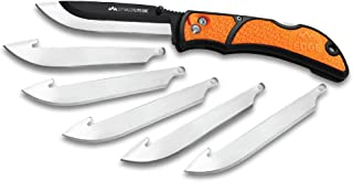 """Outdoor Edge 3.5"""" RazorLite EDC - Replaceable Blade Folding Knife with Pocket Clip and One Hand Opening for Everyday Carry (Orange, 6 Blades)"""