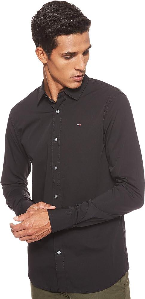 Tommy jeans original stretch, camicia slim fit per uomo, manica lunga, nera, 97% cotone, 3% elastan DM0DM04405B